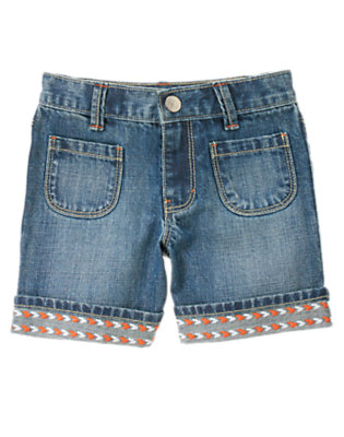 Girls Denim Embroidered Cuff Jean Short by Gymboree