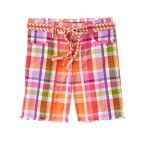 Braided Belt Seersucker Plaid Bermuda Short
