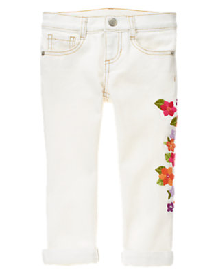White Embroidered Flower Cropped Skinny Jean by Gymboree