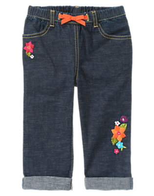 Girls Dark Chambray Embroidered Flower Chambray Capri Jean by Gymboree