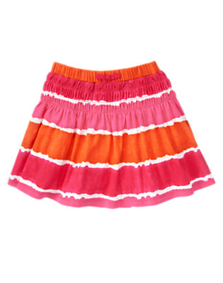 Girls Tropical Pink Ruched Dip-Dye Skirt by Gymboree