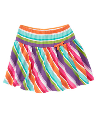 Girls Tangerine Orange Stripe Bow Stripe Skort by Gymboree