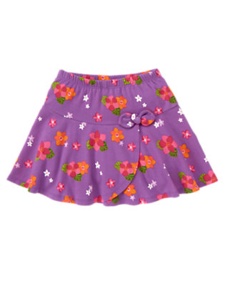 Girls Purple Orchid Floral Bow Flower Skort by Gymboree