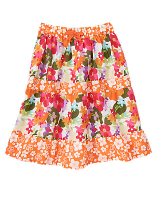 Girls Tropical Flower Tropical Flower Mixed Print Tiered Skirt by Gymboree