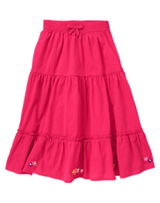 Girls Tropical Pink Embroidered Flower Gauze Skirt by Gymboree