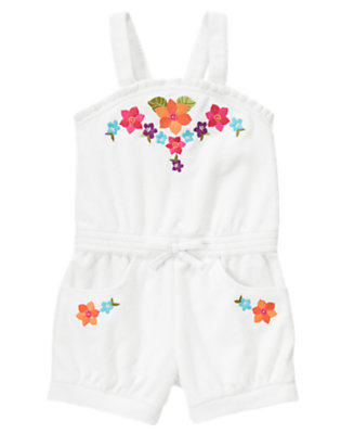 Girls White Embroidered Flower Terry Romper by Gymboree