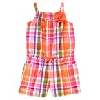 Corsage Flower Seersucker Plaid Romper