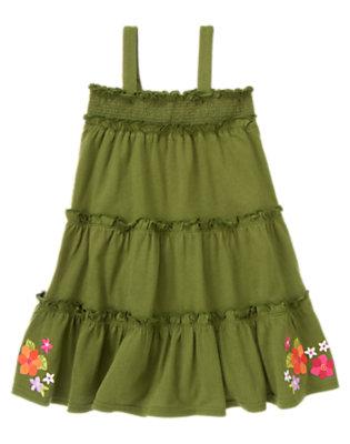 Girls Moss Green Flower Tiered Convertible Sundress by Gymboree