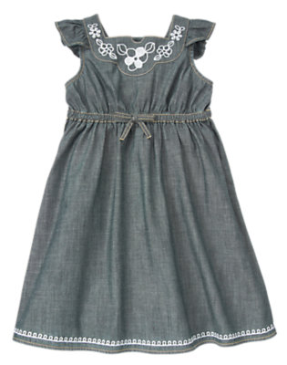 Girls Chambray Embroidered Chambray Dress by Gymboree