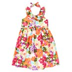 Tropical Flower Ruffle Halter Dress
