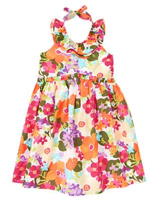 Girls Tropical Flower Tropical Flower Ruffle Halter Dress by Gymboree