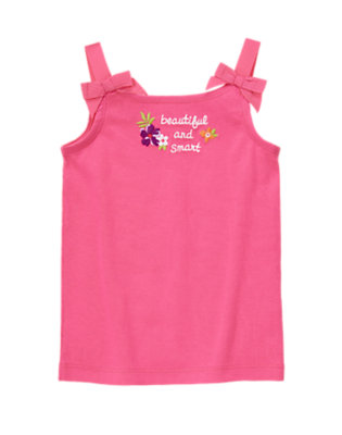 Hibiscus Pink Bow Strap Beautiful And Smart Tank by Gymboree