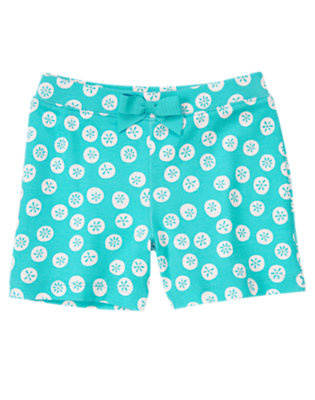 Girls Turquoise Blue Bow Sand Dollar Short by Gymboree