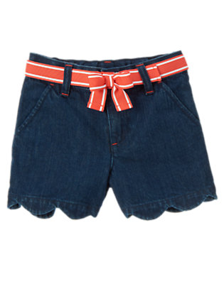 Girls Denim Belted Scalloped Jean Short by Gymboree
