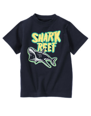 Deep Navy Shark Reef Tee by Gymboree