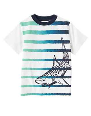 White Tiger Shark Stripe Tee by Gymboree