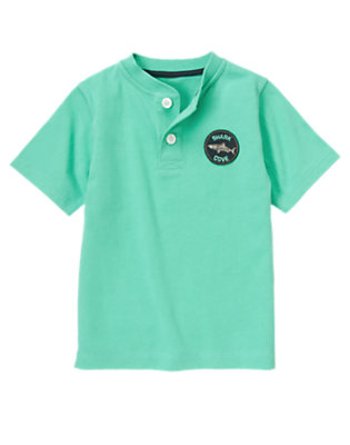 Boys Aqua Green Shark Cove Patch Henley Tee by Gymboree
