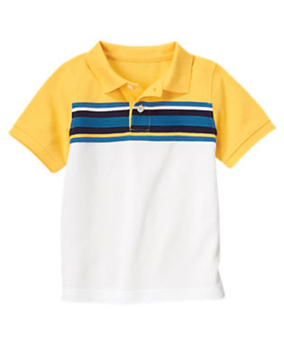 Boys Sunny Yellow Pieced Stripe Pique Polo Shirt by Gymboree