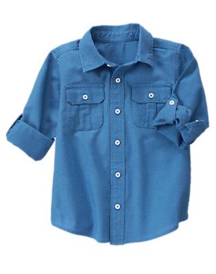 Boys Ocean Blue Button Tab Linen Blend Shirt by Gymboree