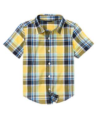 Sunny Yellow Plaid Pocket Plaid Shirt by Gymboree