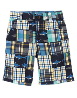 Deep Navy Patchwork Shark Plaid Patchwork Short by Gymboree