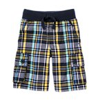 Ribbed Waist Plaid Cargo Short