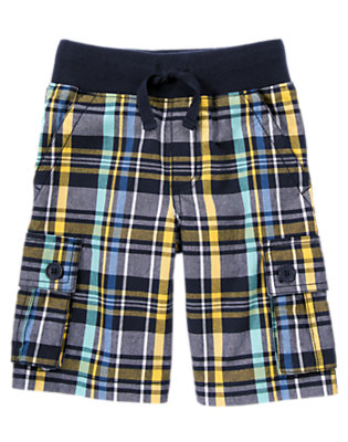 Deep Navy Plaid Ribbed Waist Plaid Cargo Short by Gymboree