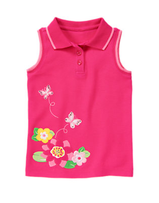 Island Pink Gem Butterfly Pique Polo Tank by Gymboree