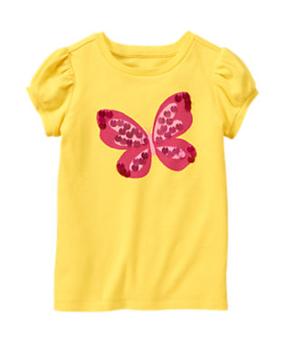 Sunshine Yellow Paillette Butterfly Tee by Gymboree