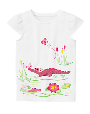 White Sequin Crocodile Pond Tee by Gymboree