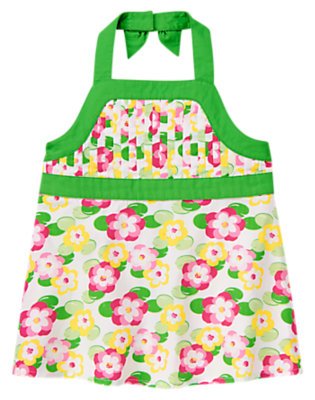 Girls White Lily Pintucked Water Lily Halter Top by Gymboree