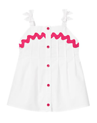 Girls White Ric Rac Pintucked Top by Gymboree