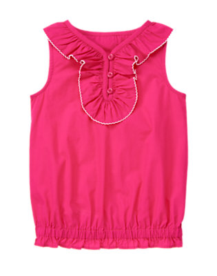 Girls Island Pink Picot Trim Ruffle Top by Gymboree