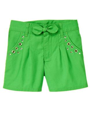 Girls Pond Green Gem Pleated Short by Gymboree