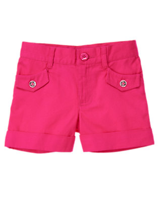 Girls Island Pink Gem Button Diamond Pique Short by Gymboree