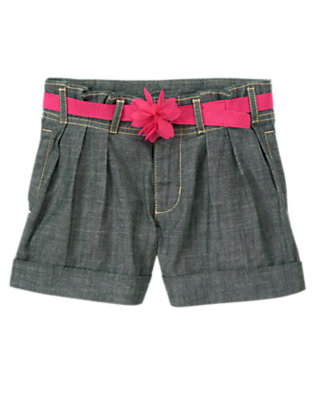 Girls Chambray Flower Belt Pleated Chambray Short by Gymboree