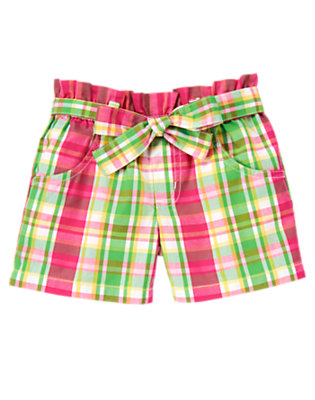 Girls Pond Green Plaid Belted Plaid Short by Gymboree
