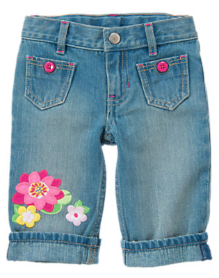 Girls Denim Gem Water Lily Clam Digger Jean by Gymboree
