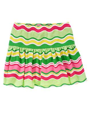 Girls Melon Green Stripe Wavy Stripe Skort by Gymboree