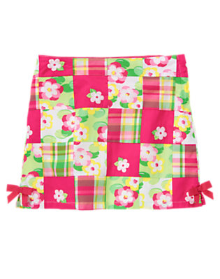 Girls Island Pink Patchwork Embroidered Flower Patchwork Skort by Gymboree