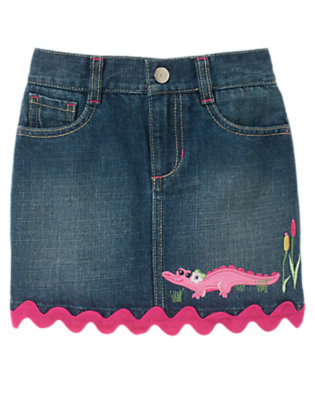 Denim Ric Rac Crocodile Jean Skort by Gymboree