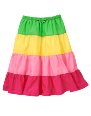 Girls Lily Pink Colorblock Tiered Skirt by Gymboree