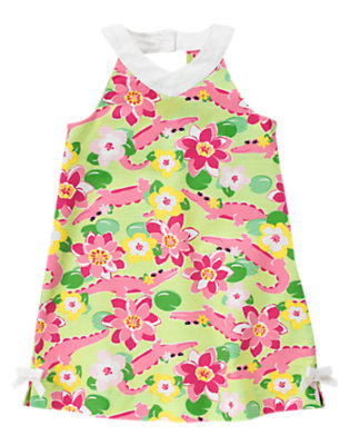 Girls Green Crocodile Crocodile Lily Dress by Gymboree
