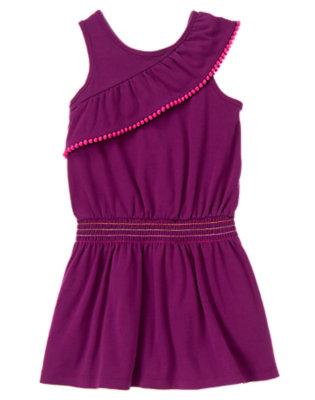 Girls Passionfruit Purple Pom Pom Ruffle Smocked Dress by Gymboree