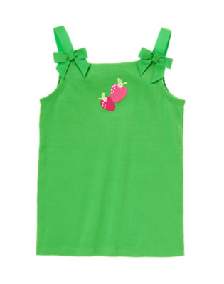Pond Green Bow Strap Strawberry Tank by Gymboree