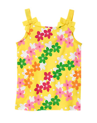 Sunshine Yellow Hibiscus Bow Strap Hibiscus Print Tank by Gymboree