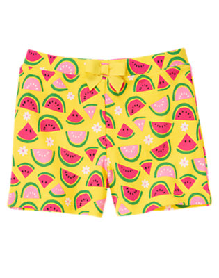 Yellow Watermelon Bow Watermelon Short by Gymboree