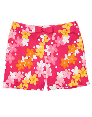 Girls Island Pink Hibiscus Bow Flower Short by Gymboree