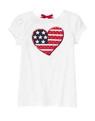 White Gem Sequin Flag Heart Tee by Gymboree