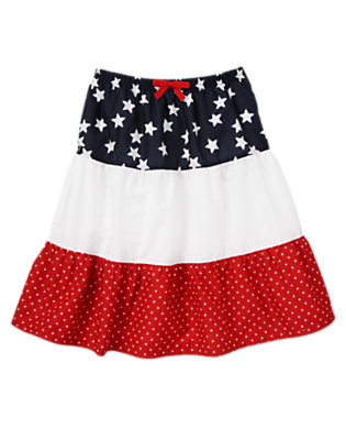 Girls Flag Red/White All-American Mixed Print Skirt by Gymboree